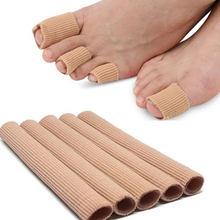 Tecido dedo do pé protetor separador aplicador pedicure milho removedor de calos alívio da dor mão silicone macio tubo ferramenta cuidados com os pés