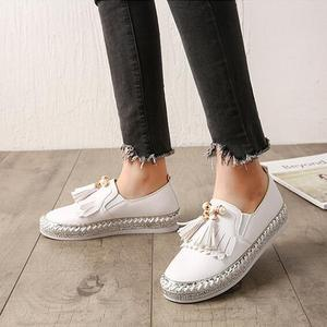 European Famous Brand Patchwork Espadrilles Shoes Woman Genuine Leather Creepers Flats Ladies Loafers White Leather Moccasins 43