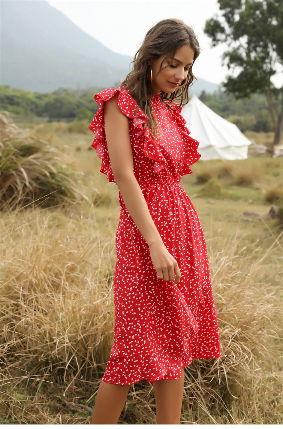 The elegant side view of Women's Casual Butterfly Sleeve Ruffles Chiffon Summer Dress