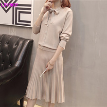 2019 autumn new Korean version of the fresh sweet bow tie sweater fashion hundred wrinkles skirt two-piece Single Button