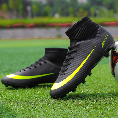 Cungel Men Football Boots Soccer Cleats Boots Long Spikes TF Spikes Ankle High Top Sneakers Soft Indoor Turf Futsal Soccer Shoes Lahore