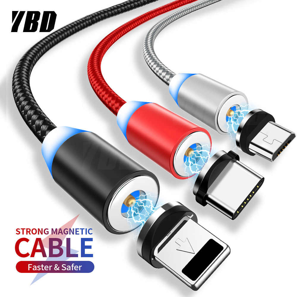 YBD 1M LED Magnetic Charge Cable For iPhone Redmi Huawei Micro USB Cable Magnet Charger USB/ Type C Cable for Samsung Xiaomi