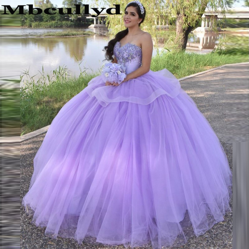 Mbcullyd Romantic Lilac Quinceanera Dresses With Applique Lace Ball Gown Vestidos De 15 Anos Soft Tulle Vestidos De Quinceaneras
