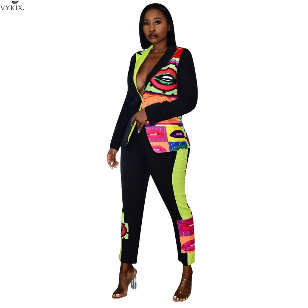 Two Piece Set Top And Pants Mouth Print Full Sleeve Blazers Pants Suit OL Two Piece Set Women Tracksuit 2 Piece Set Women