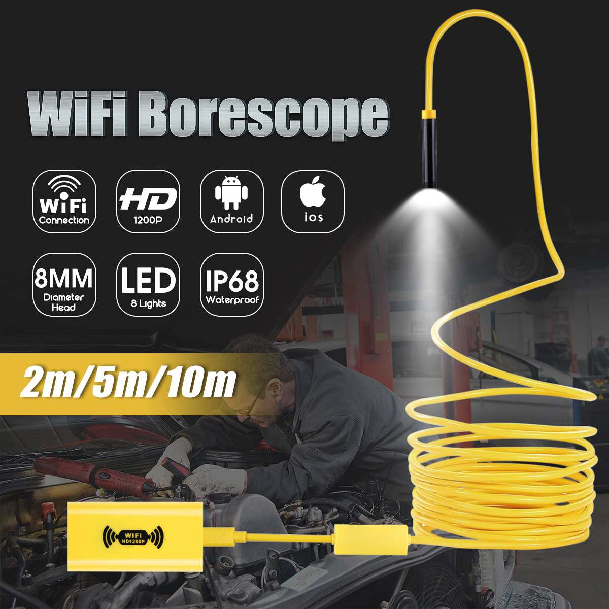 2/5/10M WIFI Endoscope Camera Mini Waterproof Hard Cable Inspection Camera HD 1200P 8mm 8 LED Borescope For Iphone