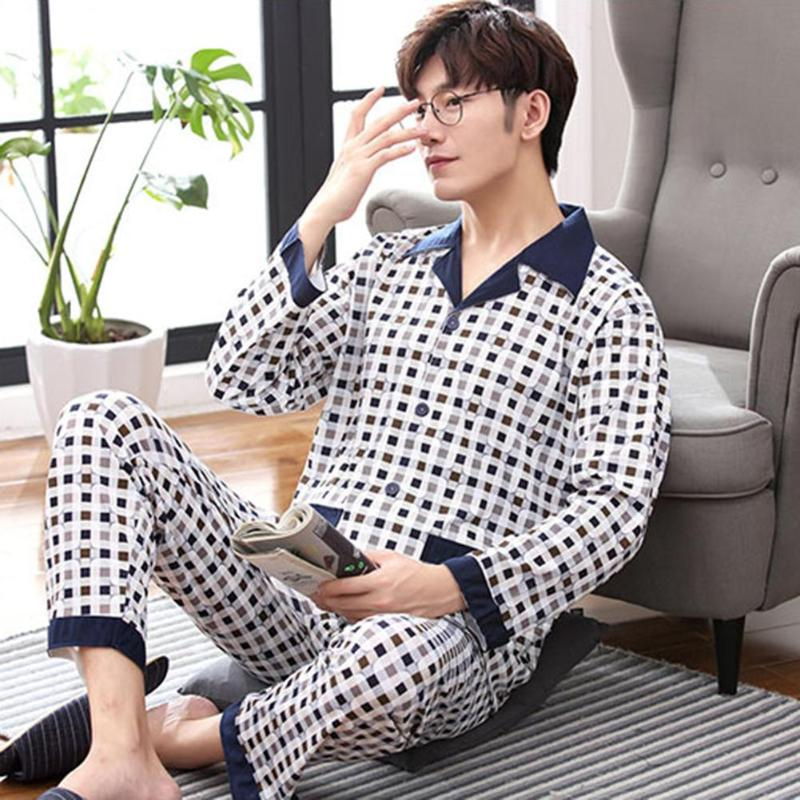 New Men's Pajamas Long-Sleeved Autumn And Winter Home Service Knit Cotton Youth Middle-aged Casual Large Size Cardigan Suit