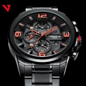 Image 2 - Nibosi relógio de quartzo/esportivo masculino, relógio de marca de luxo à prova d água militar exército em aço inoxidável grande negócios
