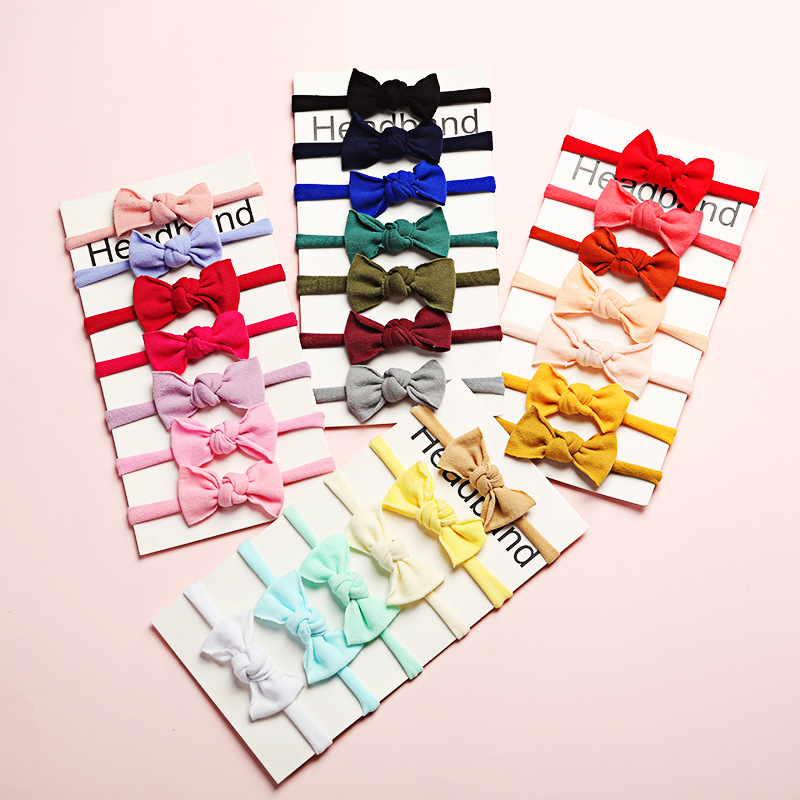 60pc/lot New Baby Bow Nylon Headband Newborn Super Soft Nylon Bow Turban Headbands,Children Girls Headwrap DIY Hair Accessories