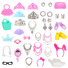 Newest Best Gift 40 Items/Set Doll Accessories Random Pick Bag Necklace Crown Shoes For Barbie Girl Doll Fashion Beautiful