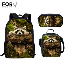 FORUDESIGNS Raccoon Prints Backpack Children Boys Girls Rucksack Students Backpacks Bag School Bags Book-Bags new mochila balso forudesigns fashion men backpacks cool 3d animal tiger printing school backpack for teenage boys children mochila rucksack man