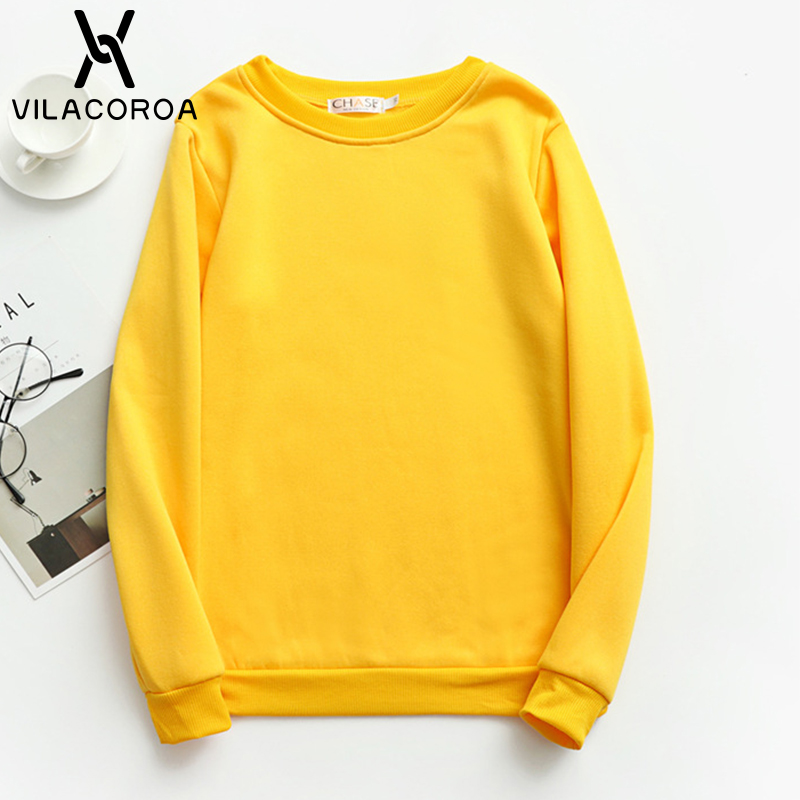 19 Color Plus Size Korean Clothes Women Hoodies Red Round Neck Long Sleeve Pullover Girls Hoodie Spring White Women Sweatshirts
