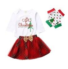 Baby Skirt Set 0-18M Newborn Baby Girls Christmas Outfits My 1st Christmas Romper Tutu Skirt Polka dot Leg Warmers Winter Set my 1st mardi gras clown hat white top green girls baby skirt cloth outfit 3 12m