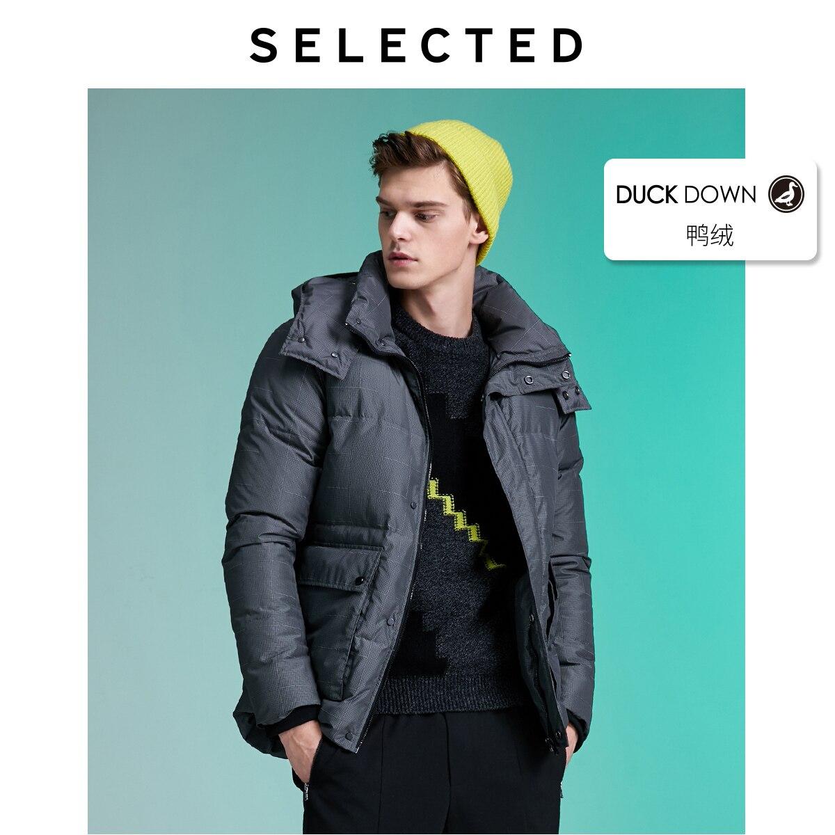 SELECTED Men's Contrasting Plaid Down Jacket Winter Parka Outwear Warm Male Coat L|419412570