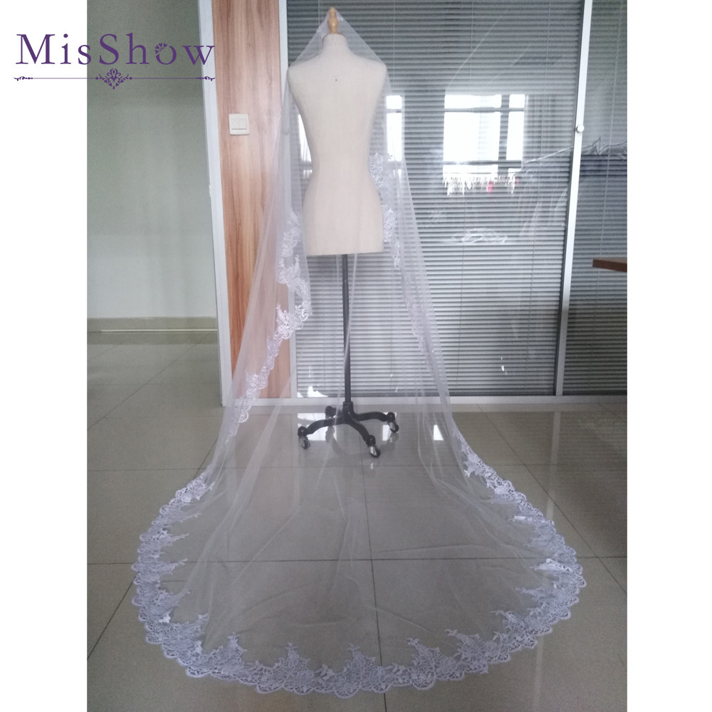 Купить с кэшбэком Hot Sale 2019 Wedding Veil Lace Cathedral wedding accessories White Ivory 2.7 M Cheap Long Voile Marriage Bridal Veil With Comb