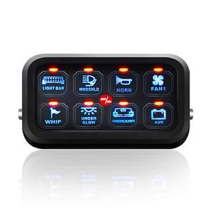 Image 1 - 8 Gang LED anahtarı paneli ince dokunmatik kontrol Panel kutusu ile kablo demeti ve etiket çıkartmaları araba tekne karavan
