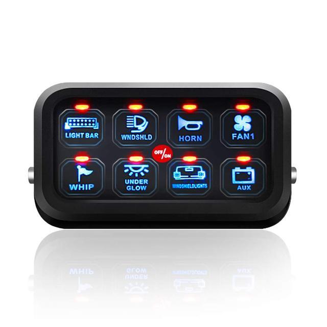 8 Gang LED anahtarı paneli ince dokunmatik kontrol Panel kutusu ile kablo demeti ve etiket çıkartmaları araba tekne karavan