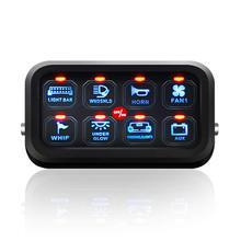 Panneau de commande tactile mince 8 gangs LED avec harnais et étiquettes autocollants, pour voiture, bateau, caravane
