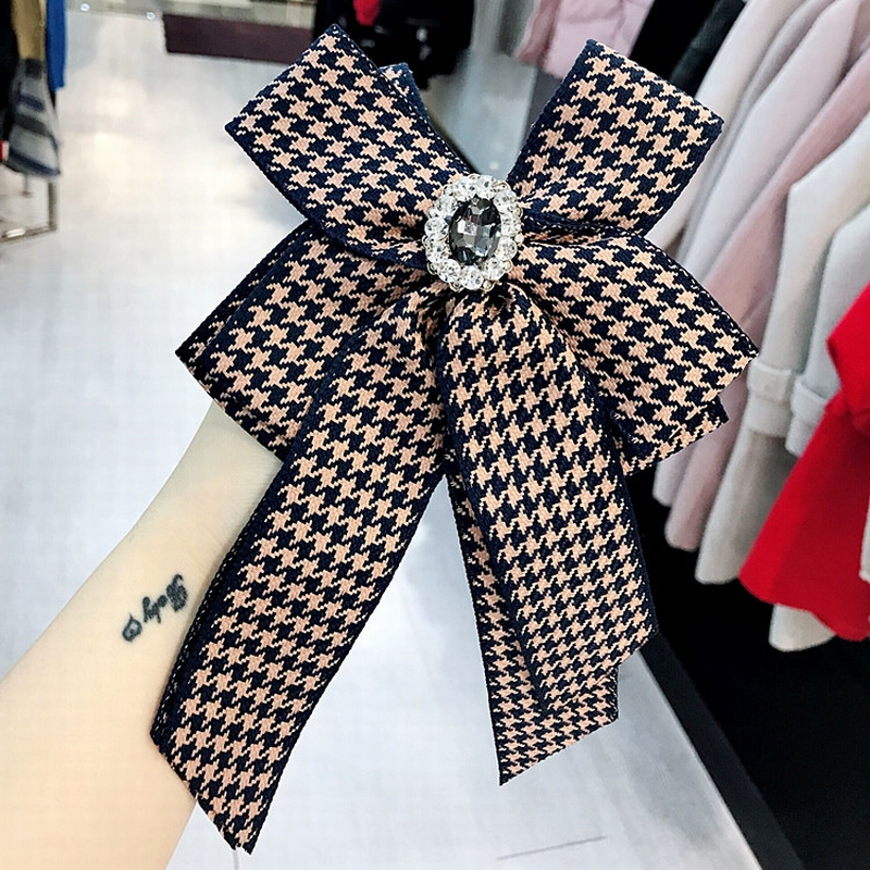 Simple Korean Cute Houndstooth Flowers Big Bow Tie For Women Fashion Suit Cloth Shirt Collar Accessories
