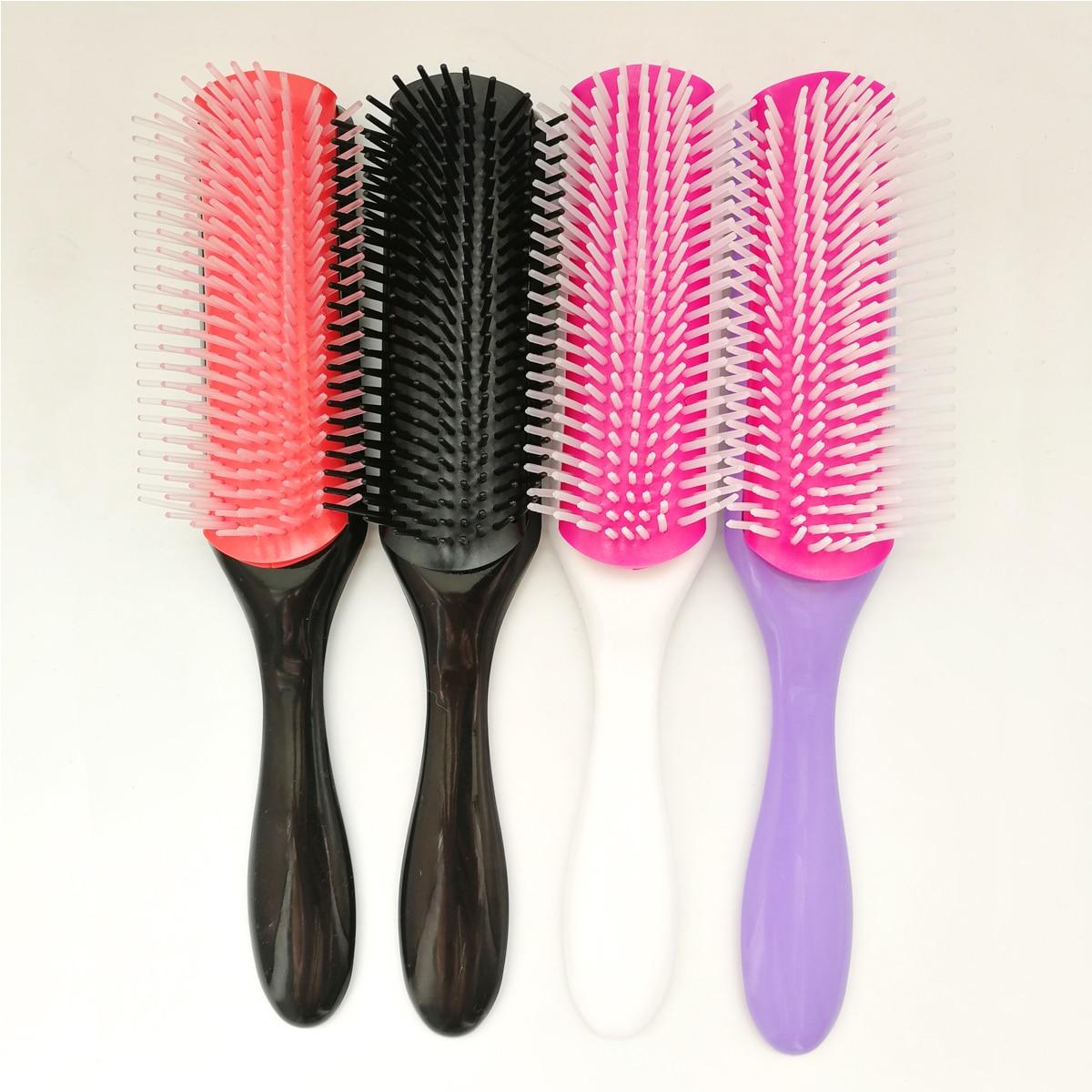 Handcraft 9 Rows Cushion Scalp Massage Brush Hair Styling Detangling Hairbrush Salon Hairdressing Women Straight Curly Hair Comb