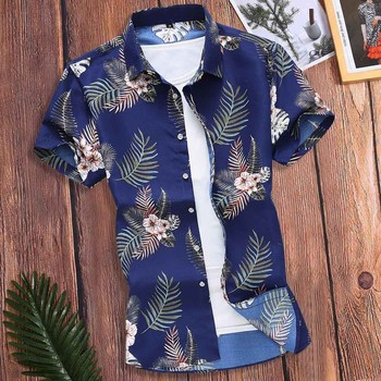 2020 New Summer Mens Short Sleeve Beach Hawaiian Shirts Cotton Casual Floral Shirts Regular Plus Size Mens clothing Fashion#G2 Men's Fashion