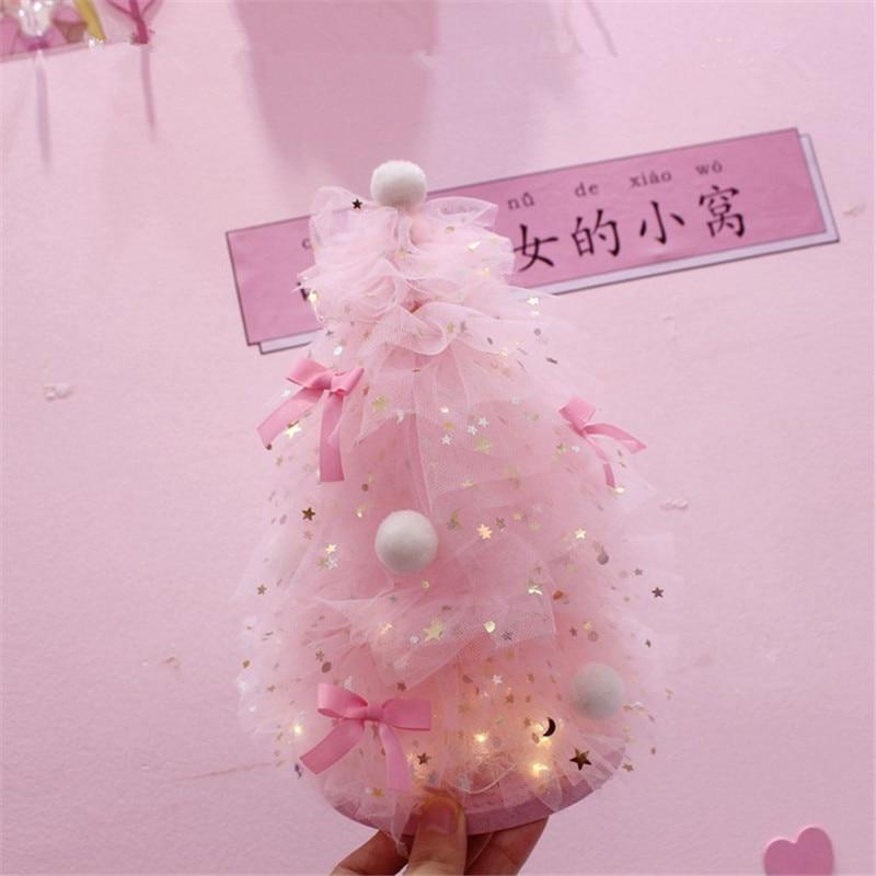INS Girl Heart Desktop Decoration Pink Dreaming Christmas Tree Night Light Home Desktop Small Decoration Gift QW267 (4)