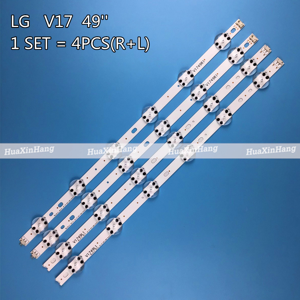 New 4 PCS LED Strip For LG 49UV340C 49UJ6565 49UJ670V 49 V17 ART3 2862 2863 6916L-2862A 6916L-2863A V1749L1 49UJ675V 49UJ630V