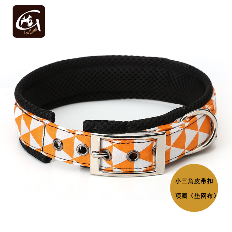 Guangzhou Pet Supplies Pure Cotton Small Triangle With Mesh Inner Cushion Adjustable Belt Buckle Neck Ring Dog Chain