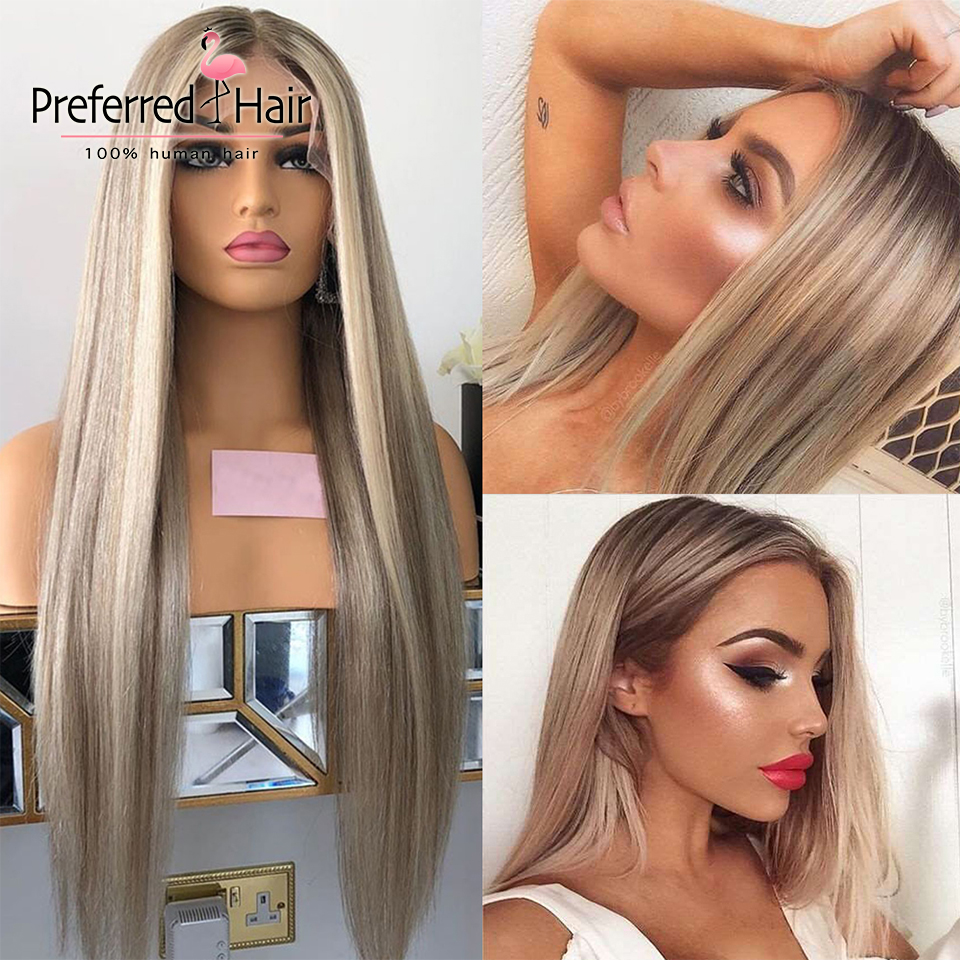 Preferred Ash Blonde Highlight Wig Pre Plucked Piano Straight Lace Front Wig   Lace Front  Wigs for Women 1