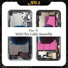 Per iphone X XR XS XSMax custodia con cavo flessibile custodia posteriore assemblaggio completo coperchio batteria sportello posteriore telaio centrale telaio vetro