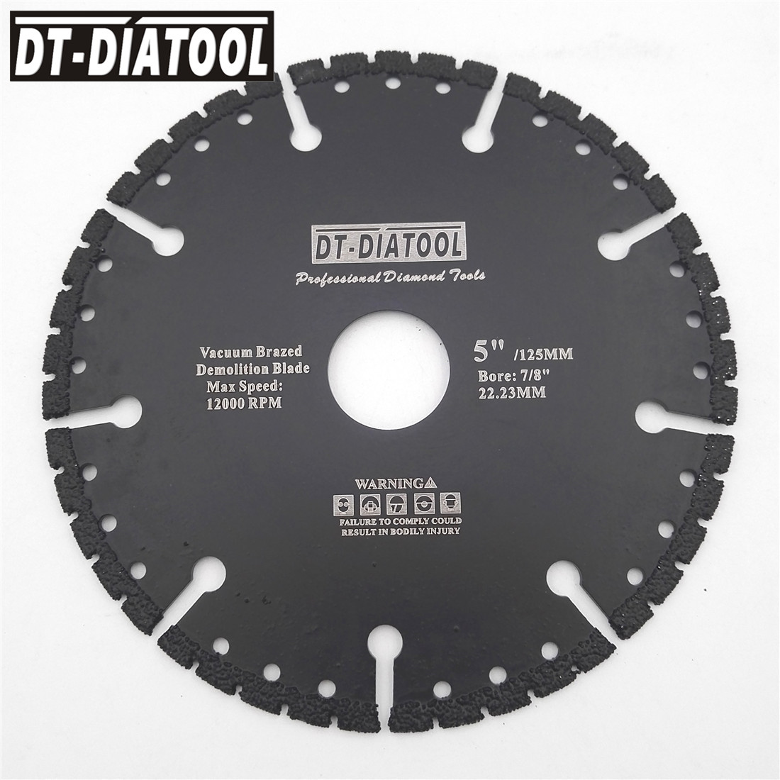 DT-DIATOOL Vacuum Brazed Diamond Saw Blade All Purpose Demolition Blade Cutting Disc Steel Metal Stone Cast Iron Rebar Aluminum