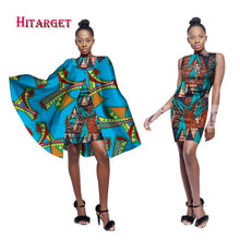 2019 New African Wax Print Dresses for Women Bazin Riche Africa Sexy and Shawl 2pcs Dashiki dashiki dress WY1724