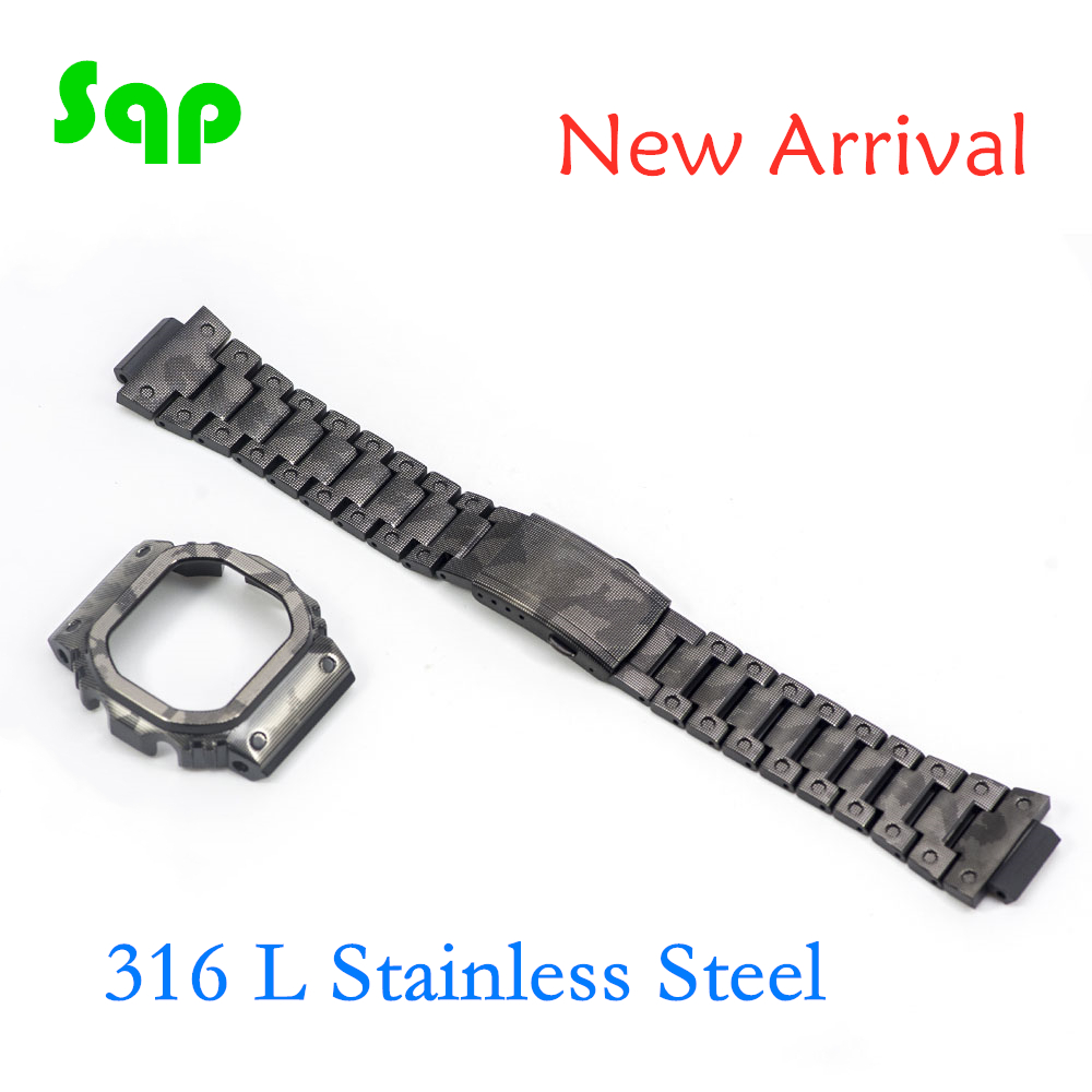 New Arrival DW5600 GW-M5610 Stainless Steel Black Camouflage Watch Set Watchband Bezel/Case Metal