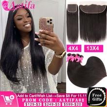 ישר שיער חבילות עם סגירה ברזילאי שיער Weave חבילות עם 13x4 חזיתי 100% שיער טבעי חזיתי עם חבילות Aatifa