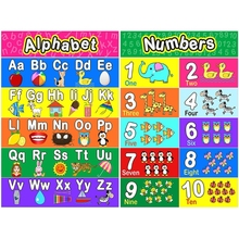 Preschool-Poster Classroom OOTDTY for Toddlers And Kids 2pieces Full-Alphabet Number
