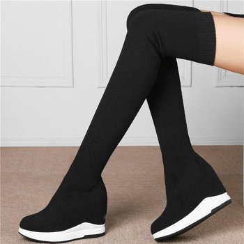 Creepers Women Black Knitting Stockings High Heels Over The Knee Motorcycle Boots Elastic Stretch Thigh High Wedges Pumps Shoes