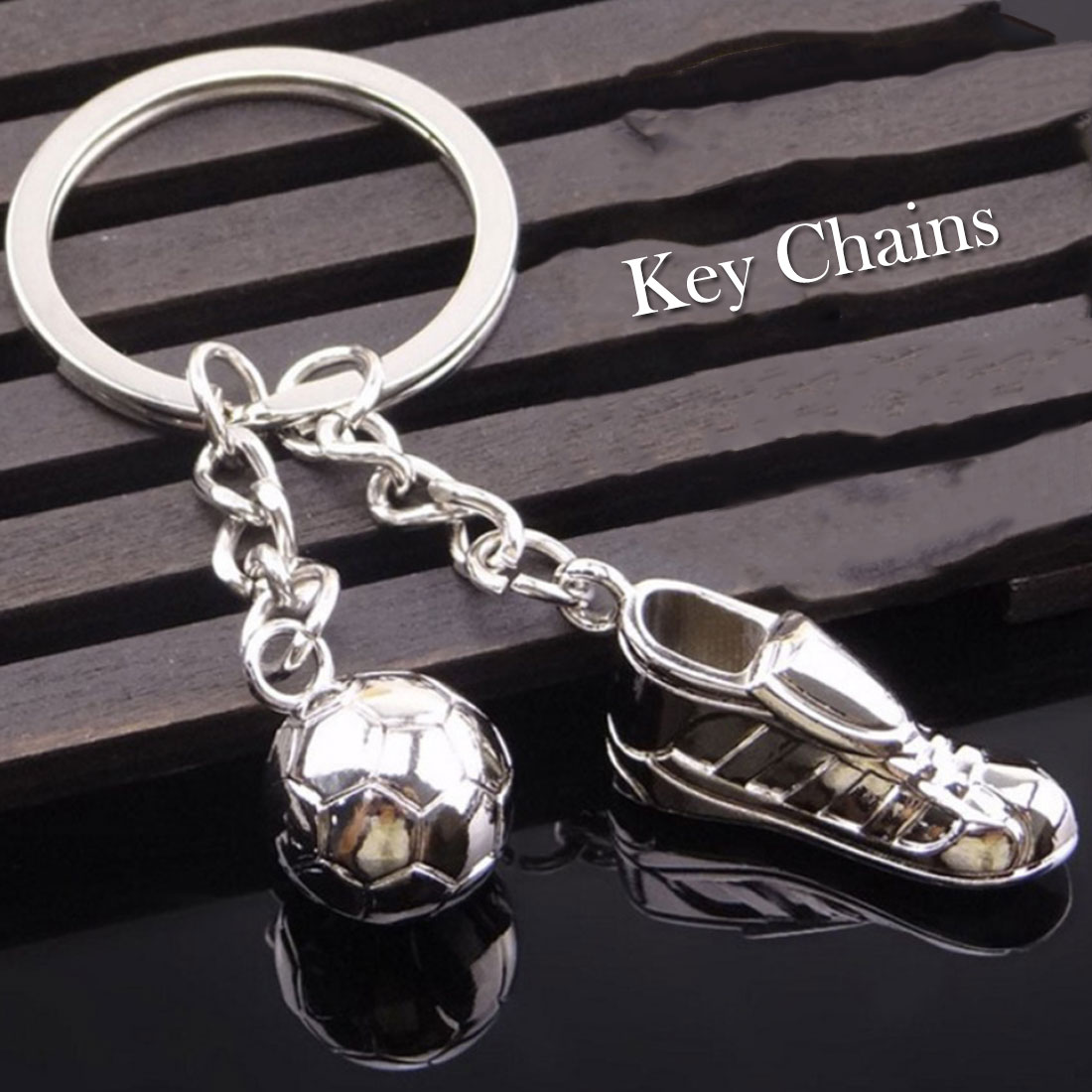New Arrivals Unique Soccer Shoes Football Ball Stainless Steel Metal Keychain Key Chain Ring Gift Futbol World