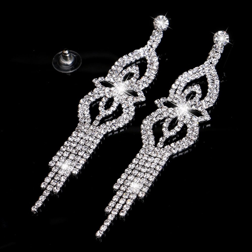 TREAZY 2019 Fashion Crystal Long Earrings for Women Jewelry Silver Color Rhinestone Wedding Party Dangle Earrings Brides Gifts