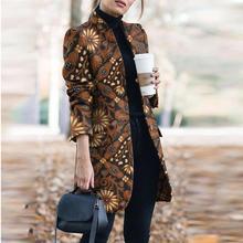 Women Work Business Ol Jacket Outwear Tops Mandarin Collar Women's Print Elegant