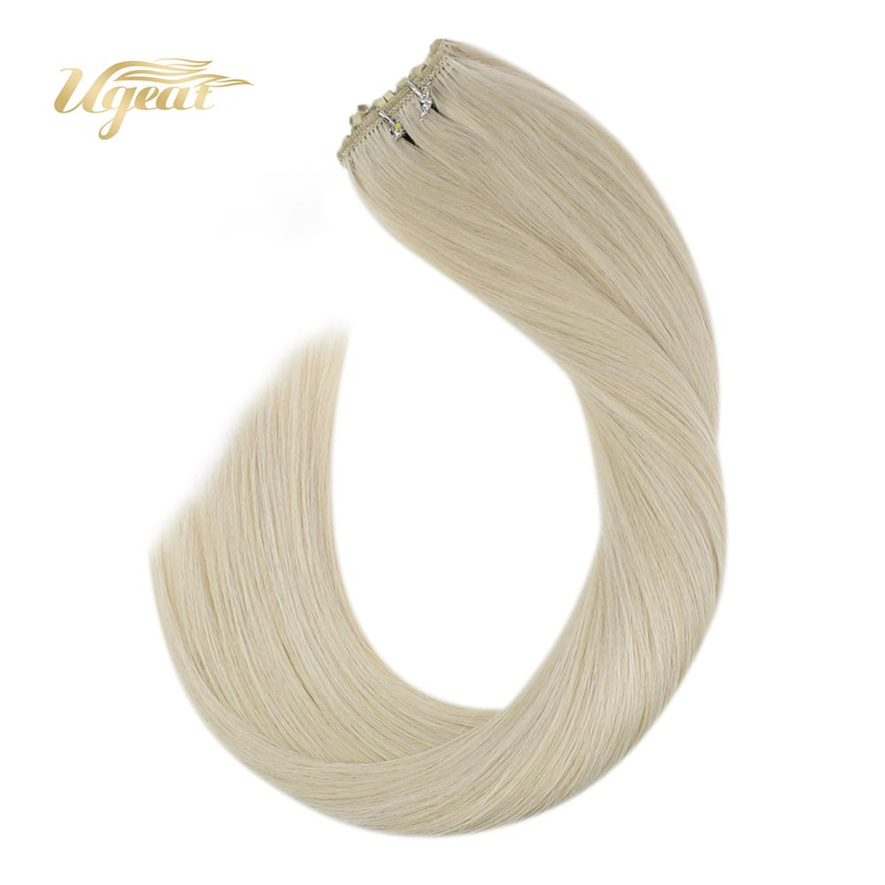 Ugeat Micro Bead Hair Extensions Brazilian Human Hair Machine Made Remy Hair Blonde Color Hair #60 Natural Soft Hair 50G/Pack