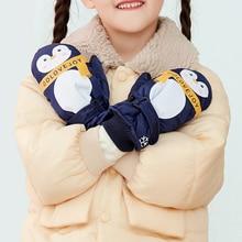 Snowboard Gloves Waterproof Sports Winter Cartoon Chidlren Pattern Girls Boys 6-12 Cute