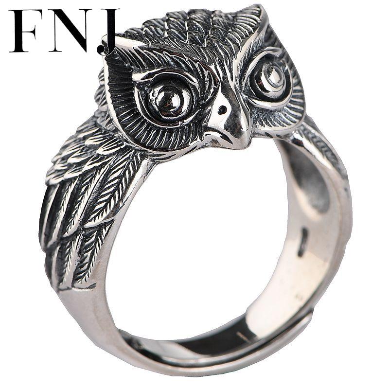 FNJ Punk aigle Animal hibou anneau 925 argent Anillos nouvelle mode S925 en argent Sterling anneaux pour hommes bijoux taille réglable bague