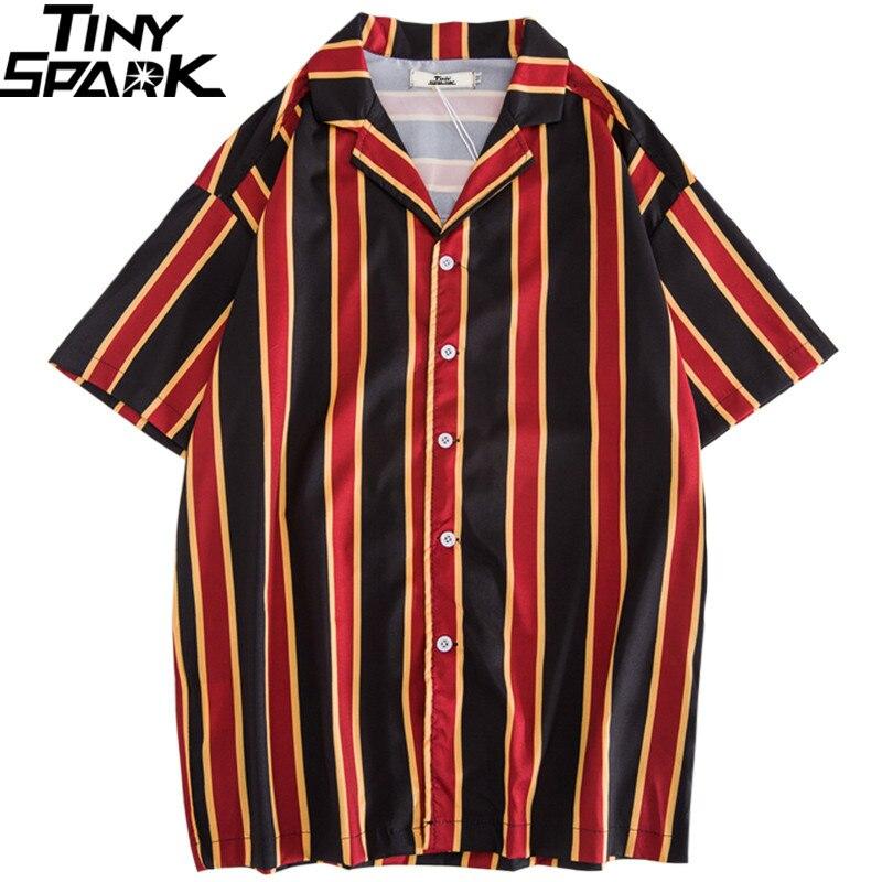 Hip Hop Shirts Streetwear 2019 Summer Mens Beach Shirt Harajuku Retro Stripe Shirt Vintage Fashion Tops Short Sleeve Black Red