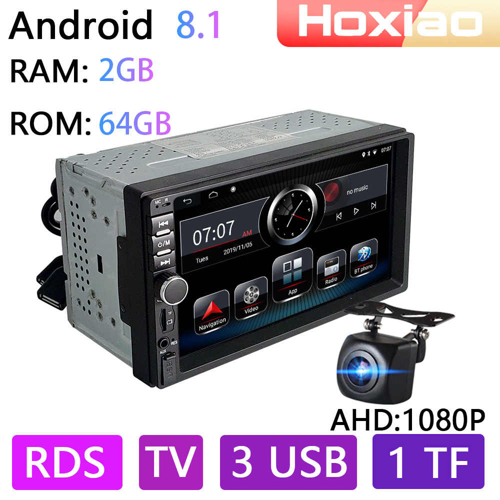 2DIN Android 8.1 Mobil Audio Radio Multimedia Player RAM 2G ROM 64G Auto Radio Wifi FM Am RDS bt ISDB TV Mobil GPS Navigasi 2DIN