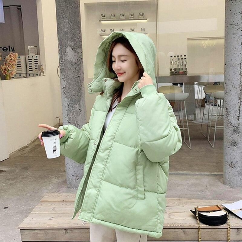 Fashion Short Winter Jacket Women Casual Warm Solid Hooded Parka Coat Office Lady 2020 New Women Women's Clothings Women's Sweaters/Coat cb5feb1b7314637725a2e7: Beige black Green