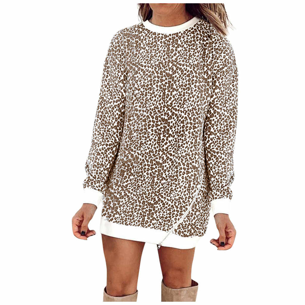 Леопардовое лоскутное платье для женщин свободного покроя с длинным рукавом свитер пуловер платья 2019 осень зима женская рубашка-сарафан