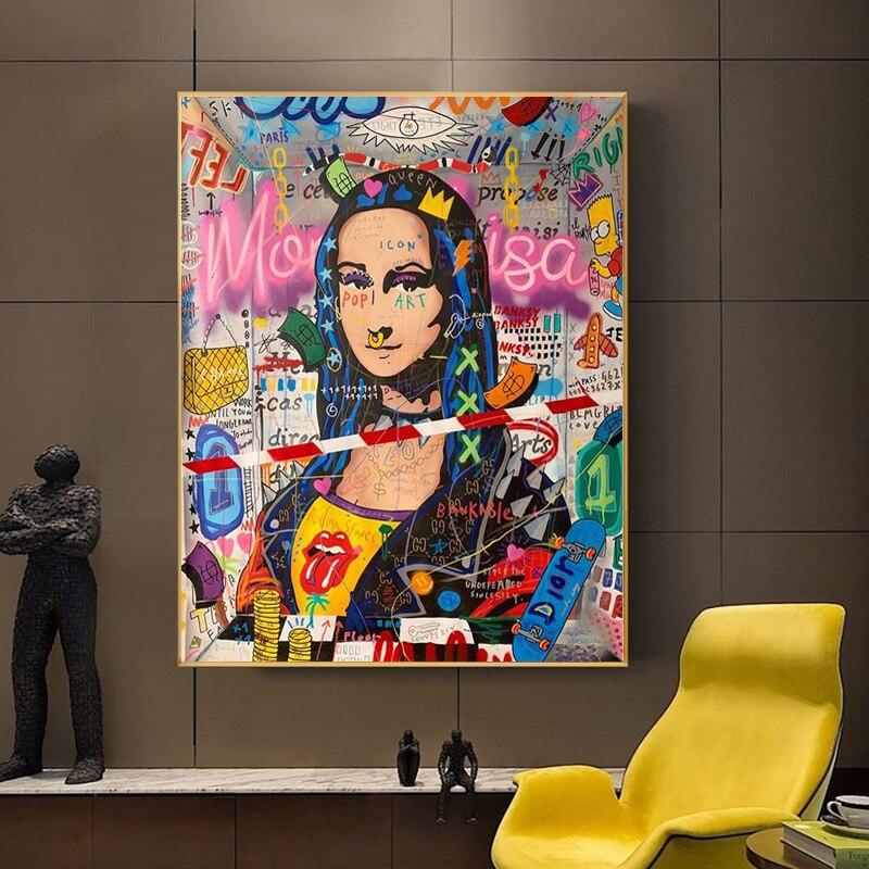 Pósteres e impresiones artísticos de la calle de la Mona Lisa, pintura de lienzo divertida en la pared, imagen artística para decoración del hogar de la sala de estar