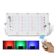 LED flood light 50W RGB colorful remote control COB chip LED street light AC220V 240V waterproof IP65 outdoor lighting