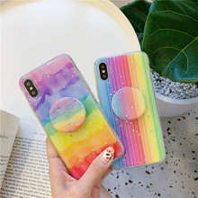 Glitter Rainbow Stand soft Case For OPPO