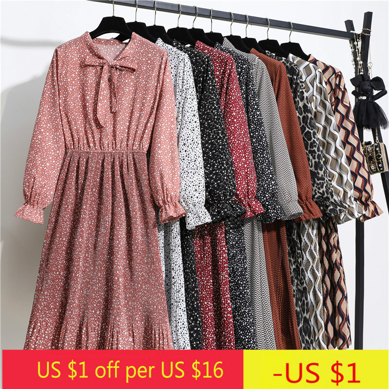 Floral Print Pleat Long Sleeve Dress Spring New Korean Style Bow Collar Elegant Chiffon Midi Dress Party Casual A Line Vestidos