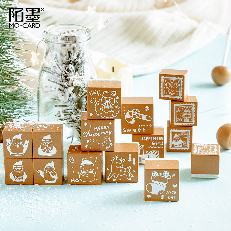 TUNACOCO Christmas Stamp Seal Sighnet Santa Claus Stamp Rubber Bullet Journal DIY Crafts Qt1710151